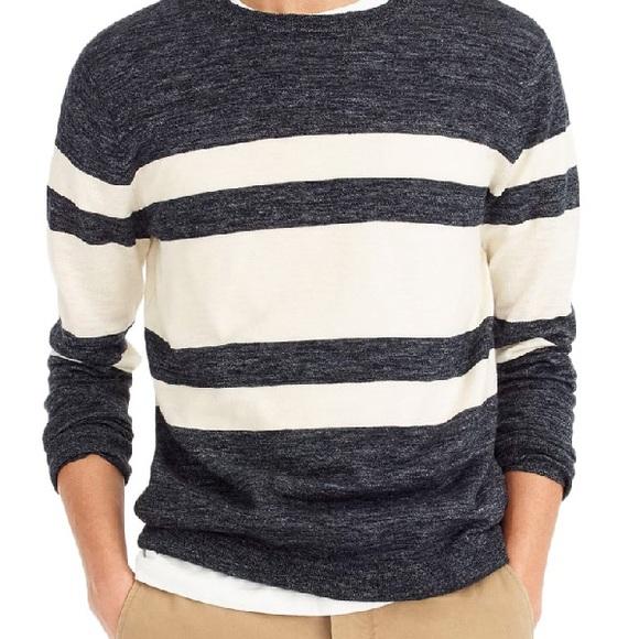 J. Crew multi stripe cotton/linen blend sweater